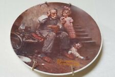 """Norman Rockwell Heritage """"The Cobbler"""" Plate Knowles Fine China #S19431 & Hanger"""