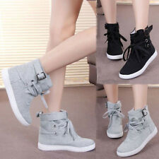 Womens Fashion Buckle Strap Hiking Flats Lace Up High Top Sports Sneakers Shoes