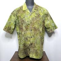 Jahari West Mens Hawaiian Island Safari Shirt Short Sleeve Cotton Size XL