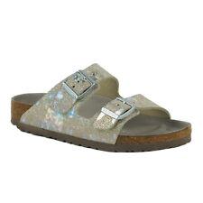Birkenstock Arizona Leather Sandals Metallic Silver 38