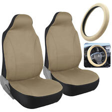 Front Car Seat Covers - PolyCloth Beige w/ Memory Foam Steering Wheel Cover