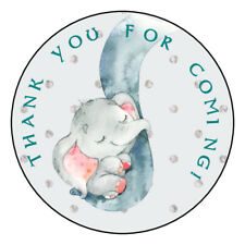 12 Favor Labels Elephant Trunk Mother Baby Shower Thanks Princess