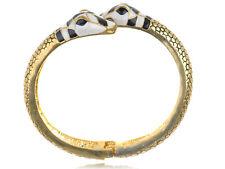 Golden Toned Metal Alloy Black White Enamel Twin Snake Cuff Bracelet Bangle Gift