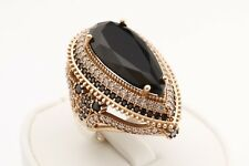 Turkish Jewelry Long Drop Cut Black Onyx Topaz 925 Sterling Silver Ring Size 7.5
