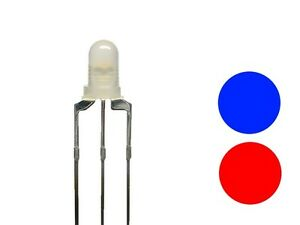 Duo Leds 3mm Bi-Color Red/Blue Diffusion 3-pin Common Cathode 10 Piece S688