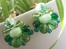 """""""Vendome"""" Shades Of Green Cluster Gold Plated Clip Earrings"""