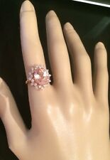 4.20CT  Natural Morganite and Diamond in 14K Solid White Gold Women Ring