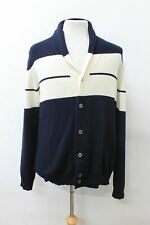 JOHN SMEDLEY Men's Blue Ivory Shawl Collar Button Wool Cashmere Cardigan XL