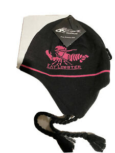 CLOSEOUT - GRUNDENS KNITTED FLAP CAP - EAT LOBSTER - BLACK AND PINK