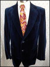 Vintage 70s Stafford Ellinson Plush Blue Velvet Jacket Formal Prom Tuxedo 40