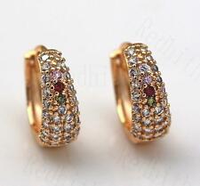 18K Gold Filled Earrings Pink Quartz Ruby Topaz Zircon Peridot Fashion Hoop DS