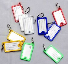 10 x Coloured Plastic Key Assorted Tags Rings ID Luggage Label Name Car Keyring