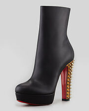 100% AUTHENTIC NEW WOMEN LOUBOUTIN TACLOU 140 LEATHER BOOTS/BOOTY US 6.5