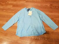 QVC Denim & Co. Aqua Cardigan Sweater & Shell Set Women's Size 1X New w Tag