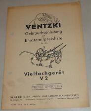 Betriebsanleitung / Teilekatalog Ventzki Vielfachgerät V2 Stand 05/1951