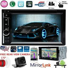 Double DIN Car Stereo USB CD DVD Player Mirror Link For iOS&Android+Free Camera