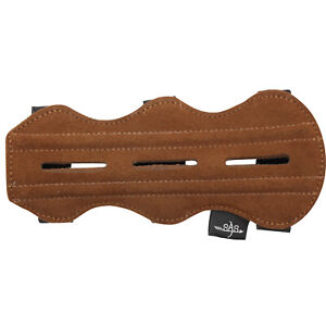 """SAS 7.5"""" Leather Suede Arm Guard One Size Archery Bow Range with 3-Strap Buckles"""