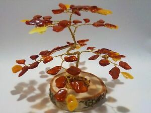 Amber Tree of Happiness Maple Tree 100% Natural 72 Baltic Amber Stones