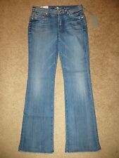 7 FOR ALL MANKIND FLARE LOW RISE ORIGINAL BOOTCUT STRETCH DARK BLUE JEANS NWT 28