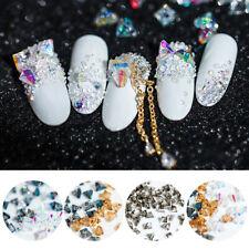 10 Pcs/Bag 3D Nail Art Rhinestones Polyhedral Sharp Bottom Gems Nail Stone Tips