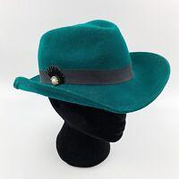 Vtg BOLLMAN Hat Co Womens Green Doeskin Felt Fedora Hat Rhinestone Pin 50s 60s