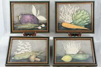 "Set of 4 Vintage Sears Roebuck Primitive Folk Art Vegetable Prints Framed 9""x11"""