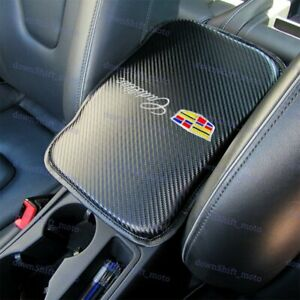 Embroidery For CADILLAC Carbon Car Center Console Armrest Cushion Pad Cover 1PCS