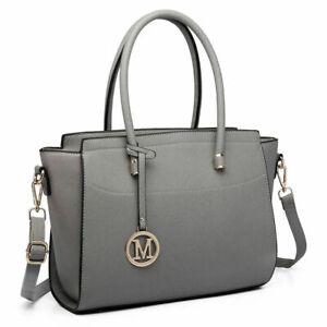 PU Leather Handbag Tote Bag Color Block Panel Ladies Designer Celebrity Shoulder