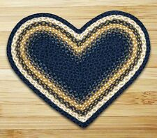 HEART JUTE BRAIDED AREA RUG By EARTH RUGS IN LIGHT AND DARK BLUE, MUSTARD, IVORY
