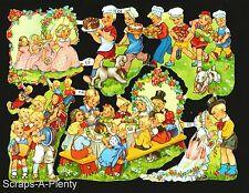 German Embossed Scrap Die Cut Relief - Wedding Picnic Children EF7147
