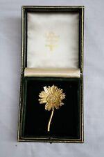 MAGNIFICENT 18K GOLD DIAMOND SUNFLOWER BROOCH SIGNED MARLENE STOVE