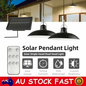 Solar Power LED Hanging Light Indoor Outdoor Pendant Lamp+Remote For Garden Yard