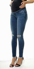 Maternity Over Bump Denim Blue Ripped Skinny High Waist Jeans Ex New Look Pants