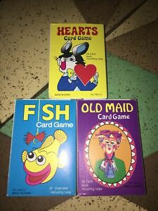 Classic Children's Card Games - ALL 3 - Go Fish Old Maid & Hearts, Old Fashioned
