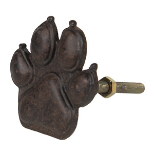 Bear Paw Door Knob Metal Drawer Handle Animal Foot Pull Iron Brown Hardware