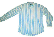 Structure Long Sleeve Button Down Shirt L Blue White Stripes
