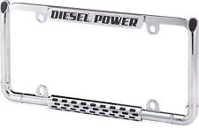 Diesel Engine License Plate Frame Chrome/Black Power Stroke Car/Truck Tag Holder