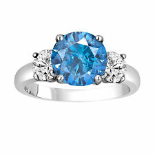 2.45 CT ENHANCED FANCY BLUE DIAMOND THREE STONE ENGAGEMENT RING 14K WHITE GOLD