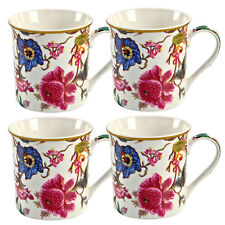 Conjunto de 4 William Morris anthina Floral Fine China Tazas de Té Café Con Caja De Regalo