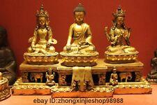 Tibetan shrine Bronze 24K Gilded Chenrezig Sakyamuni Guan Yin three Buddha set