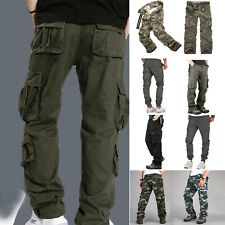 Mens Camo Cargo Pants Military Tactical Army Combat Zip Pocket Outdoor Trousers
