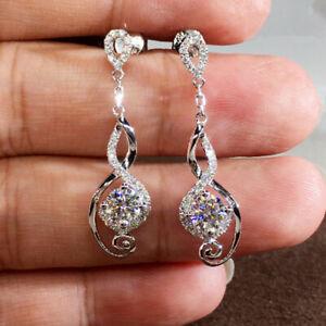 Elegant 925 Silver Drop Earrings for Women Jewelry White Sapphire Gift