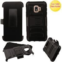 Samsung GALAXY J2 Core Hybrid Rubber Armor HOLSTER Rugged Hard Case Cover Black
