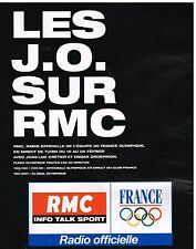 Publicité Advertising 2006 RMC Radio officielle equipe de France des JO