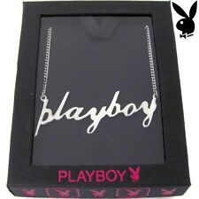 925 Sterling Silver Playboy Necklace Pendant w Chain Script Word Statement Box