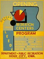 ART PRINT POSTER VINTAGE ADVERT LEEDS RECREATION CENTERS NOFL1424