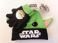 Disney Star Wars 2pc Youth Kids Beanie Hat & Glove Set Yoda Mandalorian New