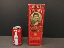 Vintage Aunt Lydia's Carpet & Button Thread Box Willimantic Conn CT Advertising