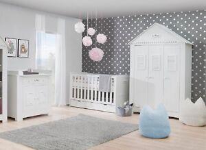 Babyzimmer Kinderzimmer weiß SAINT-TROPEZ Set C komplett Schrank 3T Bett Kommode