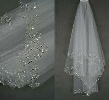 Bridal Veil White Ivory Short Wedding Veil With Crystal Edge With Comb Bead New